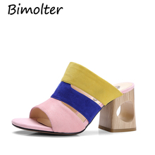 Bimolter New Fashion Peep Toe Summer Women Slippers Genuine Leather Shoes Woman Strange Style Heels Casual Slippers Female NC059 artdiya summer original new square toe slippers low heels retro genuine leather sandals buckle peep toe women slippers 7552