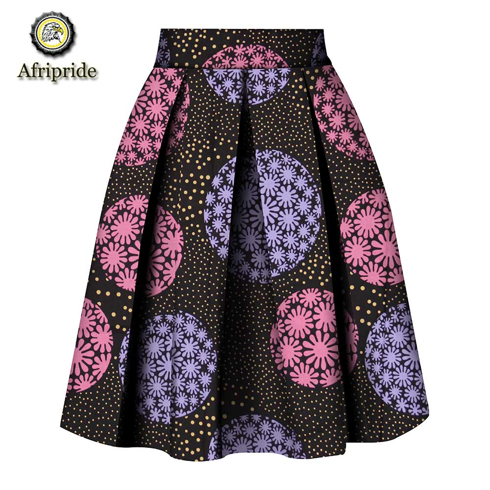 2019 women clothes AFRIPRIDE private custom skirt pure cotton ankara print dashiki bazin riche casual skirt for women S1827008