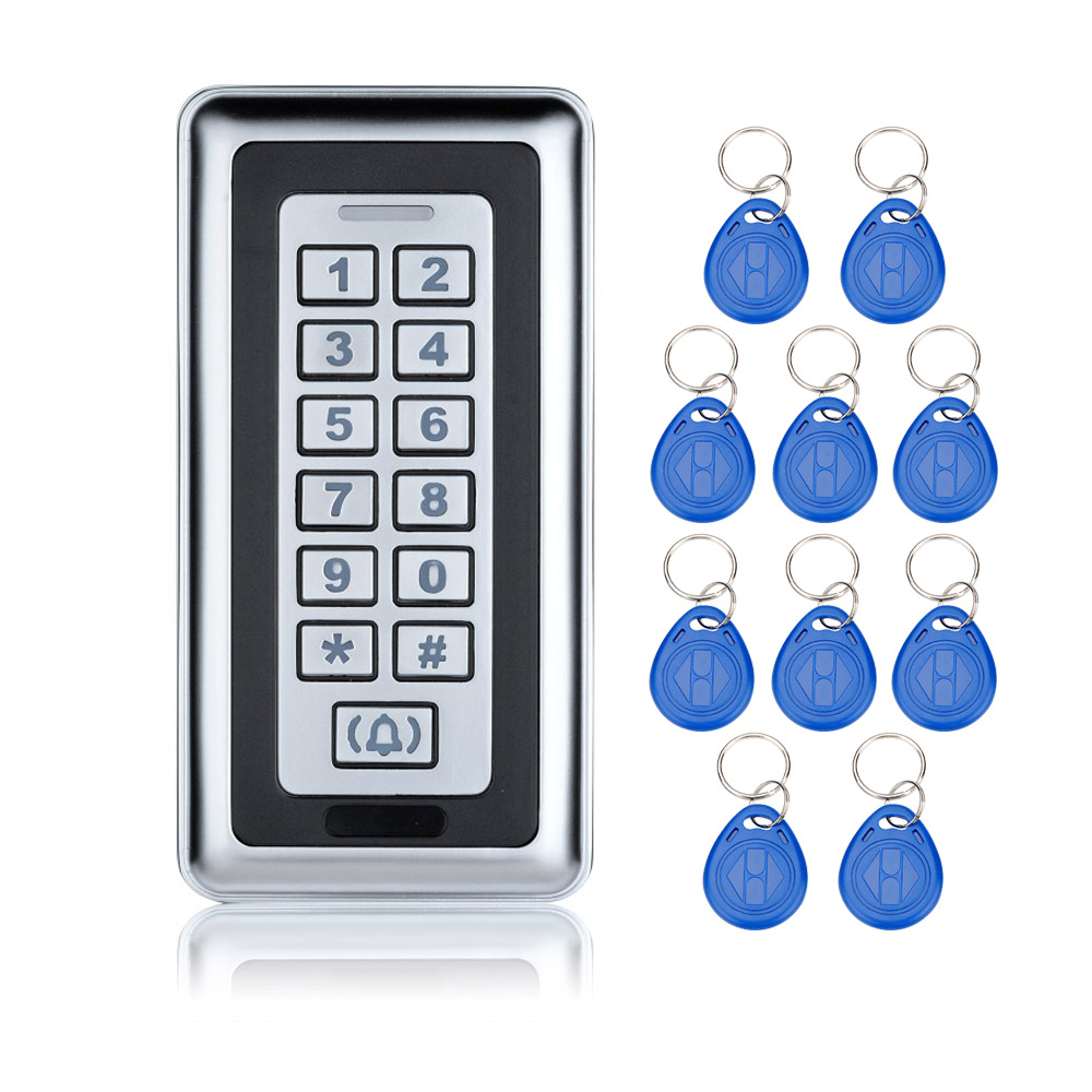 Metal Waterproof RFID Door Access Control Keypad For Security System 125KHz ID Metal Card Reader Electronic Locks+10 keyfobs-K87 waterproof touch keypad card reader for rfid access control system card reader with wg26 for home security f1688a