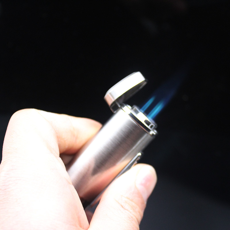 Windproof Torch Lighter 3 Tube Fire Stainless Steel Jet Turbo Pipe Lighter Metal Cigar Spray Gun 1300 C Butane Fixed Fire No Gas