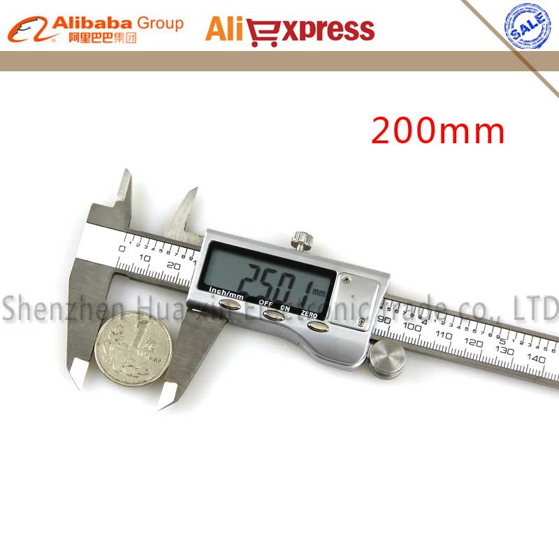 602 All metal Accurately Measuring Stainless Steel High Precision Digital caliper Calipers Metric conversion 0-200mm Caliper