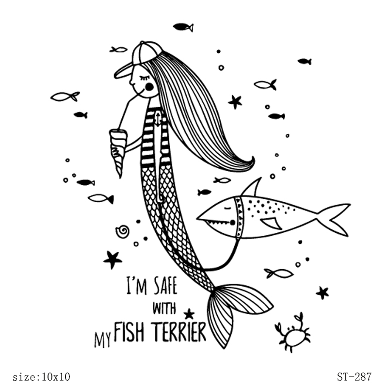 AZSG Funny Mermaid Shark Clear Stamps For DIY Scrapbooking Decorative Card making Craft Fun Decoration Supplies 10x10cm in Stamps from Home Garden