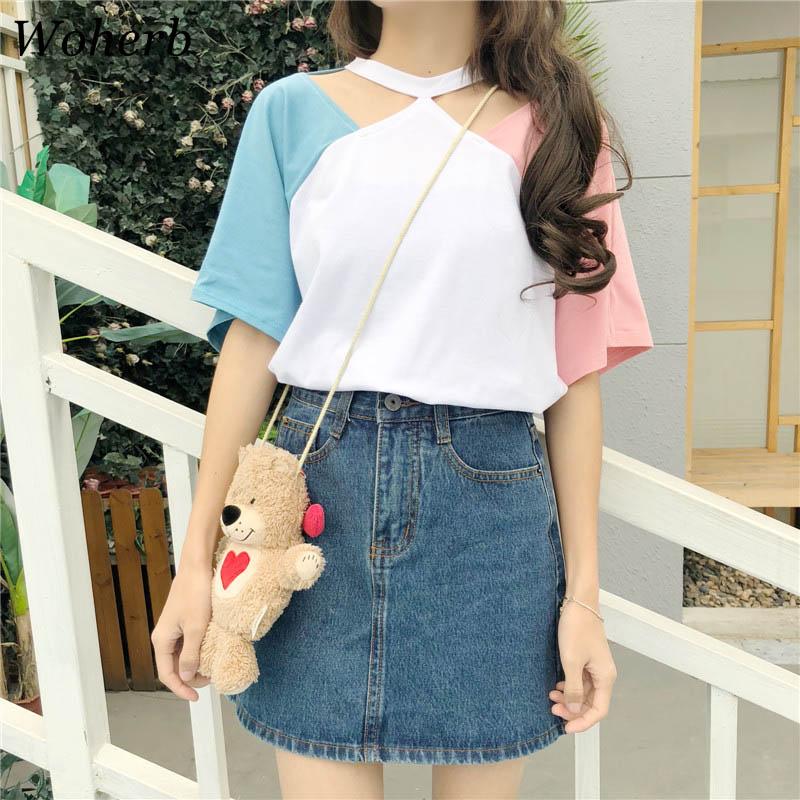 Woherb 2019 Korean T Shirt Women Hollow Out Halter Top Female Summer Kawaii Color Patchwork Tee Shirts Femme 21054