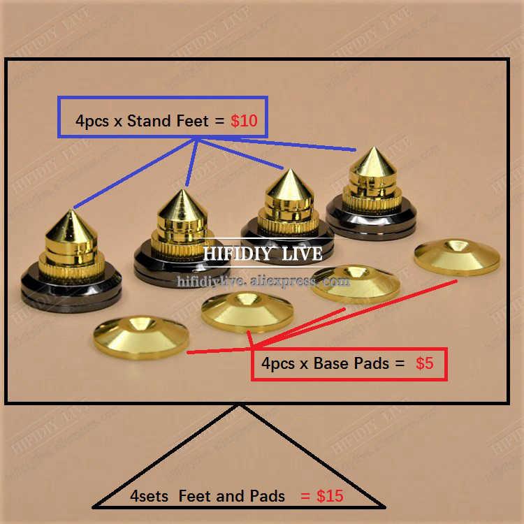 HIFIDIY לחיות 4 סטי או 4 PCS רמקולים Stand רגליים רגל Pad טהור נחושת זהב רמקול תיבת קוצים קונוס רצפת רגל נייל M28 * 26