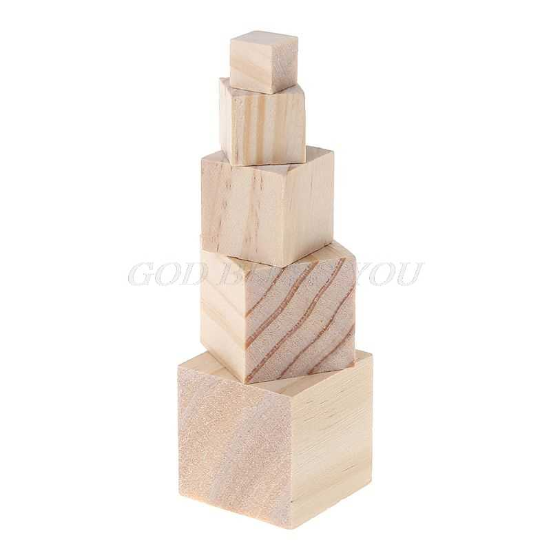Wooden Square Blocks Unfinished Wood Solid Wood Cube Mini Cubes DIY Woodwork Craft Embellishment for Wedding Wood DIY Crafts