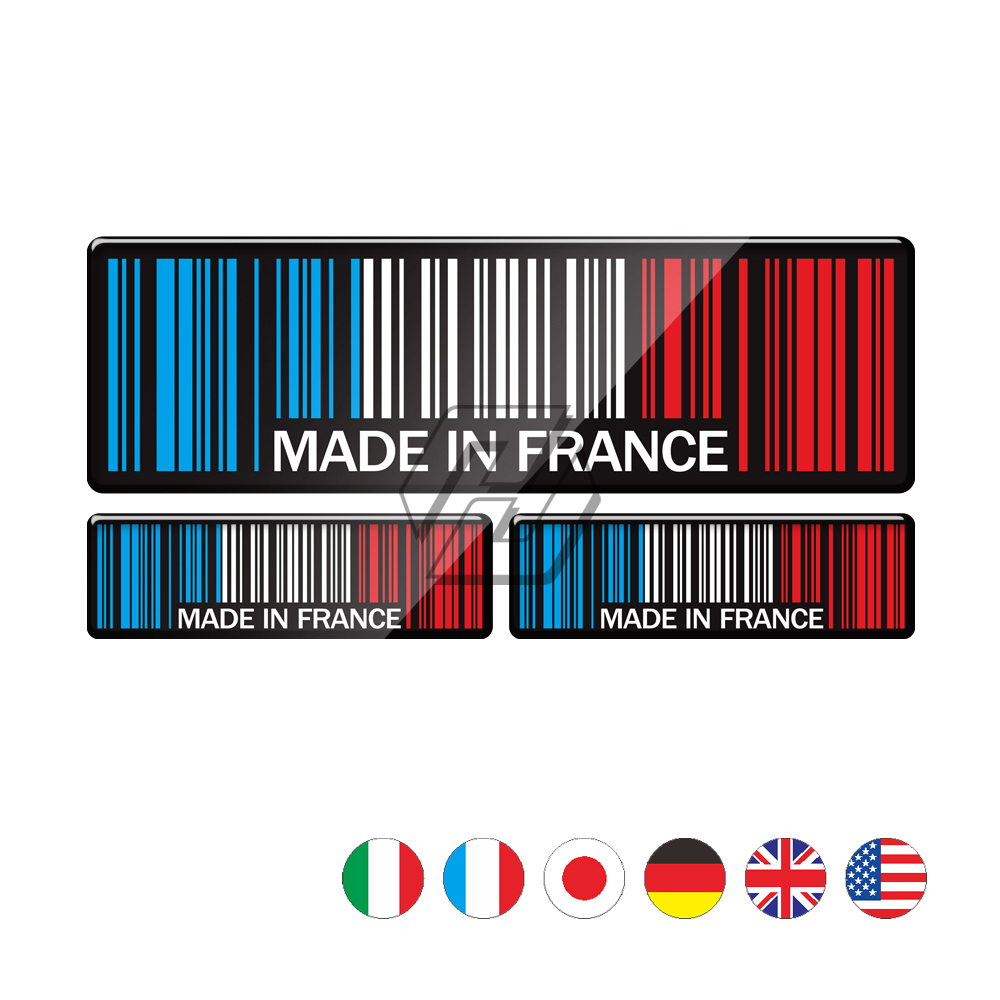 3D Bar Code Sticker Made In France UK USA Germany Motorcycle Tank Pad Decal Case for KTM BMW Aprilia Ducati Benelli MV