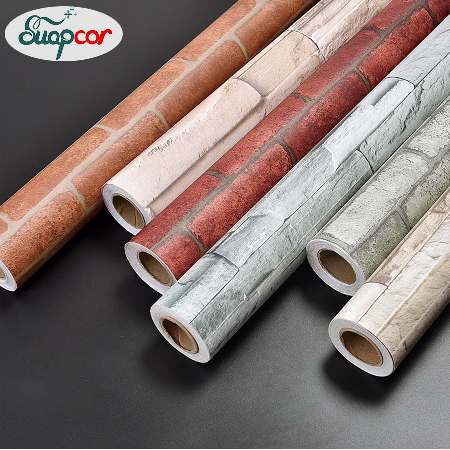 Self Adhesive PVC 3D Vintage Brick Wallpaper Roll for Living Room Kitchen Removable Vinyl Home Decor Waterproof Wall Stickers