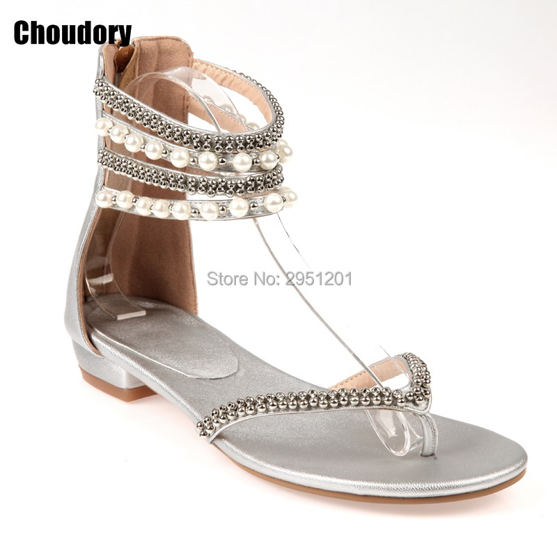 2019 Casual shoes woman gladiator sandals women Beading Rhinestones Flat  Sandals plus size Flat sandals Crystal Flip Flops-in Women s Sandals from  Shoes on ... 2dc19d2dd0e8