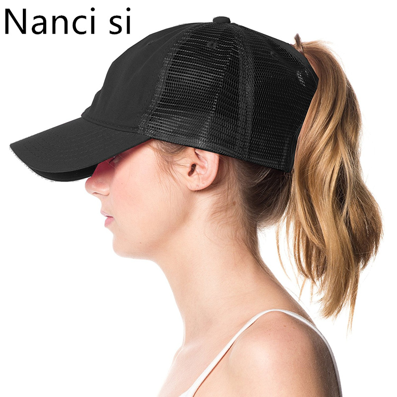 26c0f017542 2018 Solid Color Ponytail Baseball Cap Snapback Caps Casquette Hats Fitted  Casual Bun Plain Messy Trucker Hats For Women Girl
