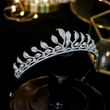 ASNORA  Wedding Bride's Crown Elegant Zincons Leaf Silver Headwear Jewelry Accessories