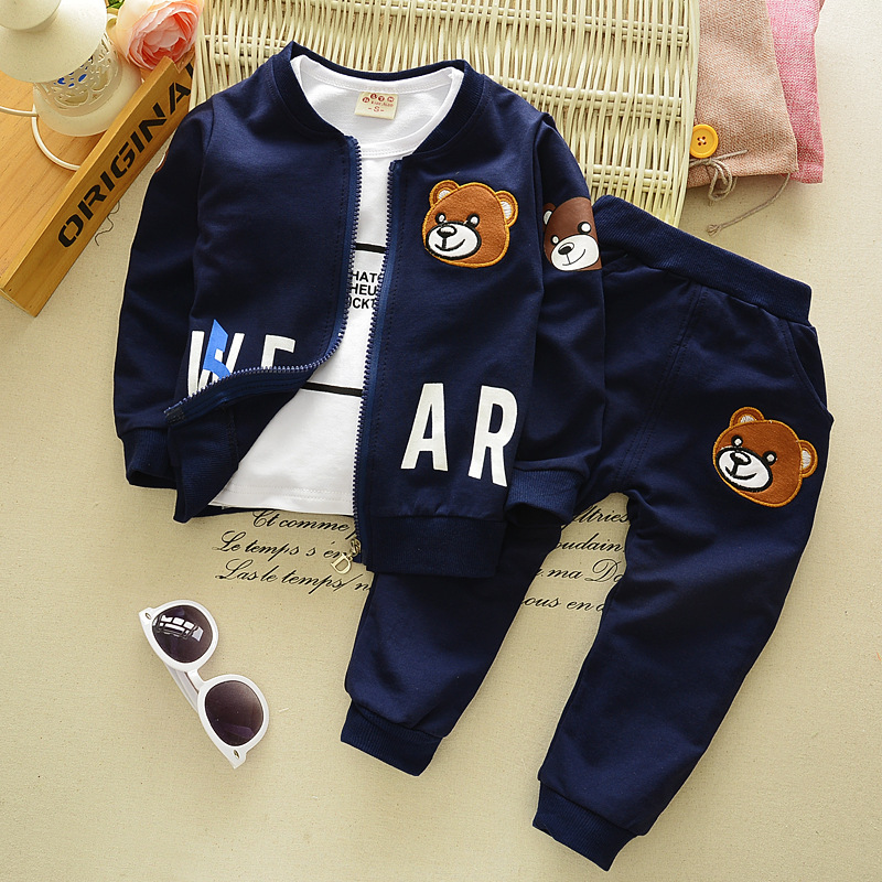 High Quality 2017 Fashion Baby Boy Clothes Embroidered Bear kids sport clothing suit Brand sweatshirts Children clothing set 2pcs set baby clothes set boy