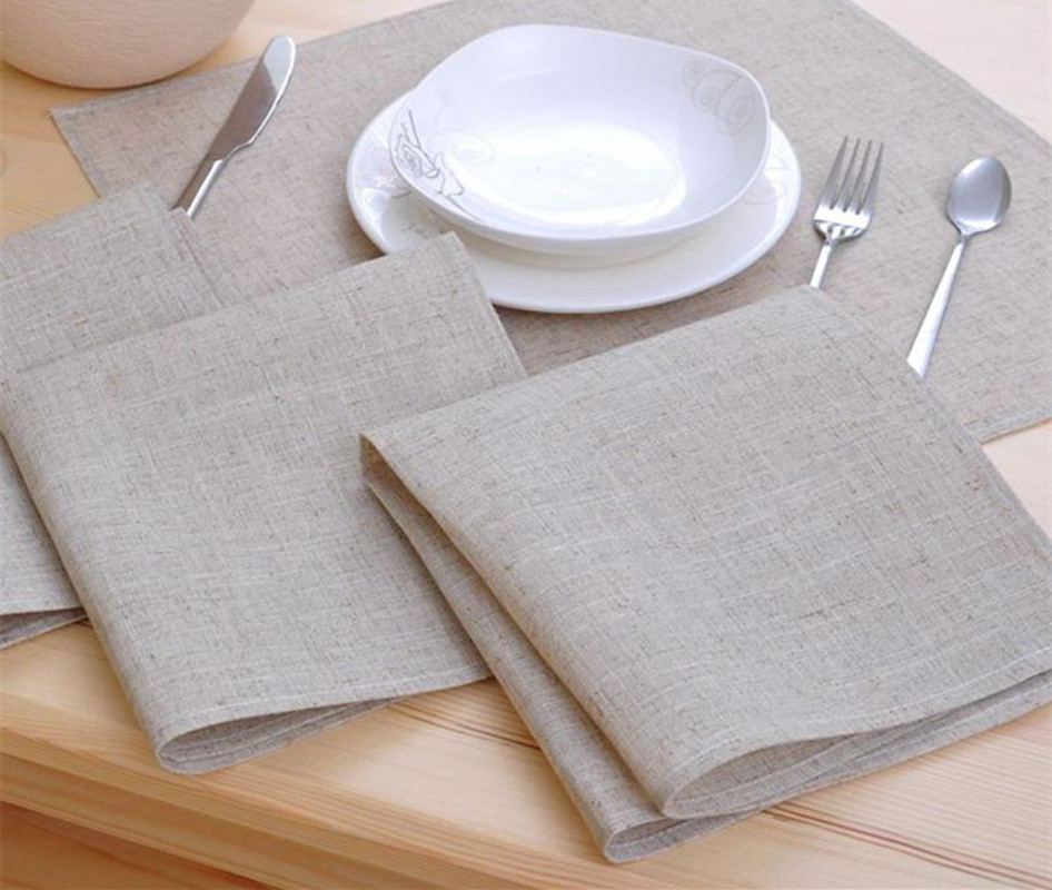 8pcs cloth table napkin linen hotel napkin western dinner - Serviette de table tissu ...