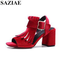 2017 Summer Sexy Square Heels Tassel Sandals Shoes Woman Office Fashion High Heels Female Summer Buckle