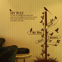 Birds Wall Stickers, Road Sign Wall Decals Guidepost Home Decor Wall Stickers