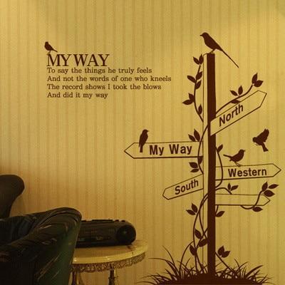 Ptaki Wall Stickers, Znak drogowy Drogowskaz Home Decor Naklejki Ścienne Naklejki Ścienne