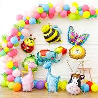 Kids Birthday Party Banner Safari Animal Foil Ballon Garland Kit Bee Butterfly Lion Mylar Ballon Kit Green Pink Blue Ballon Arch