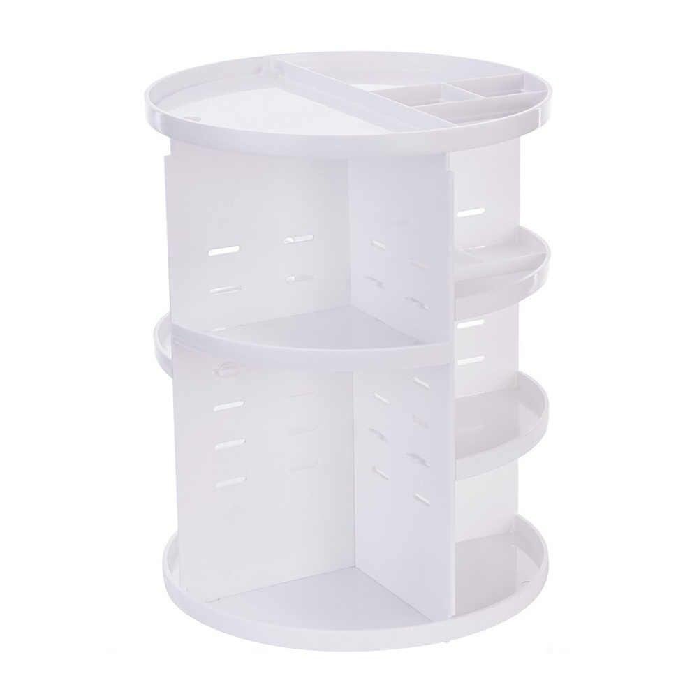 Najlepszy makijaż organizator 360 obracanie regulowany pudełko do przechowywania duża pojemność stojak na kosmetyki szczotki QQ99