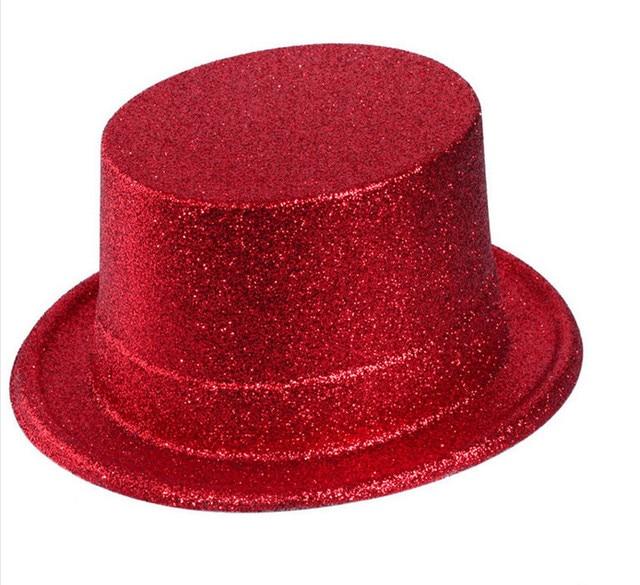 Hot Sale Carnival Caps Party Flat Top Hats Glitter Power Funny Hat Cap  Colour Random 10pcs lot 8a9e79cf22e