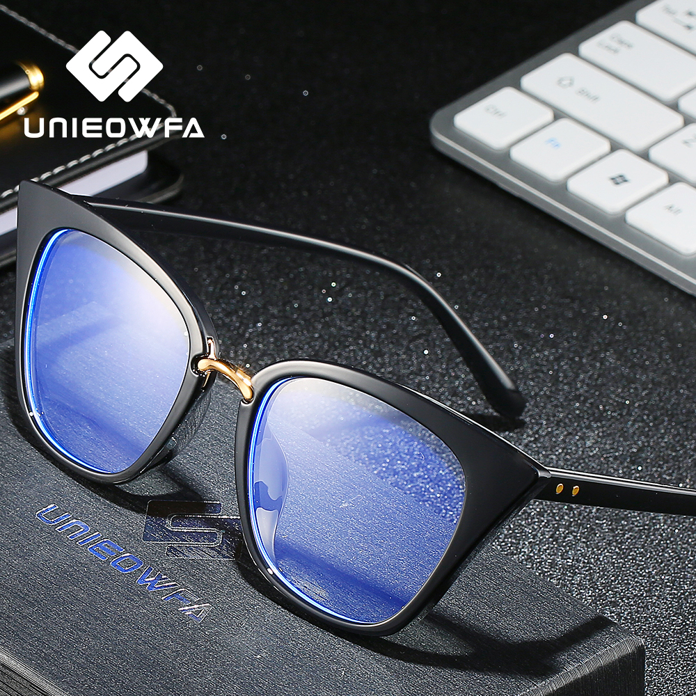 UNIEOWFA Retro Cat Eye Prescription Glasses For Women Optical Myopia Eyeglasses Blue Light Blocking Progressive Eyewear Vintage