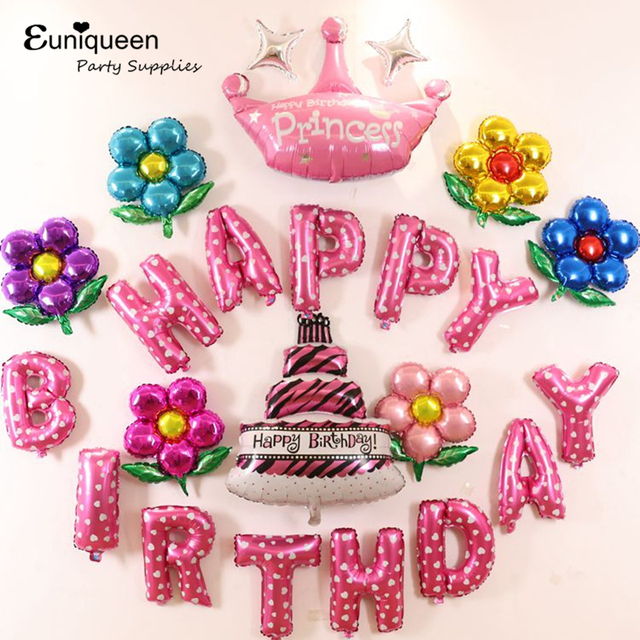 Colorful Foil Balloons Pink Happy Birthday Letter Kids Party Idea Set Princess Decoration Baby Shower Supplies