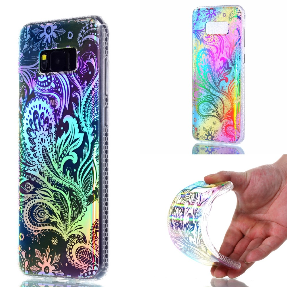LANCASE For Samsung Galaxy S8 Case Glitter Powder Flower Acrylic Case For Samsung S8 Plus Bling