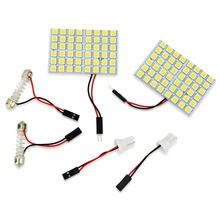 2pcs/lot 48 SMD 5050 Panel Bright 48 led panel 12v T10 W5W festoon Dome LED Bulb Lamp interior lighting auto parking car light