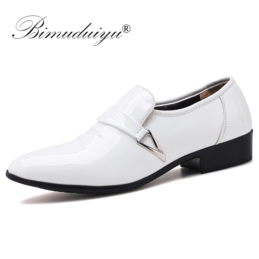 BIMUDUIYU Men Quality Patent PU Leather Dress Shoes Slip On Male Formal Oxford Shoes Loafers Pointed Toe Business Wedding Shoes