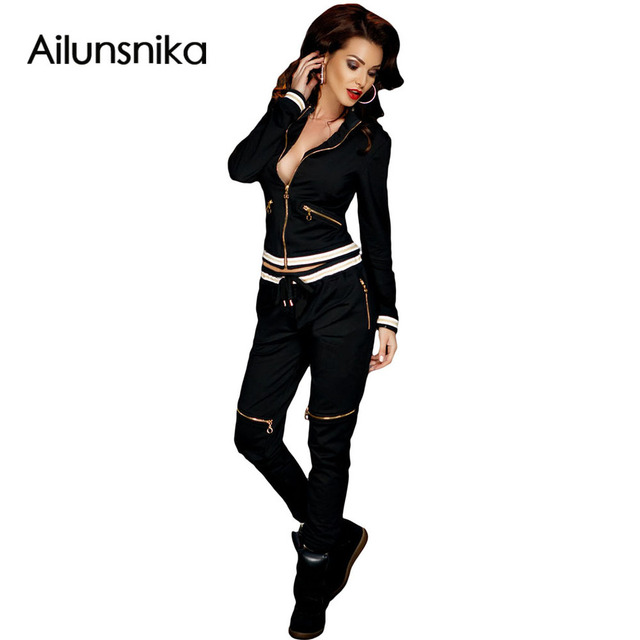 2017 Fashion New Autumn Club Wear Zipper sexy novel designned Two Piece Pantsuit For Women long Sleeve Ladies Jumpsuit DL62040