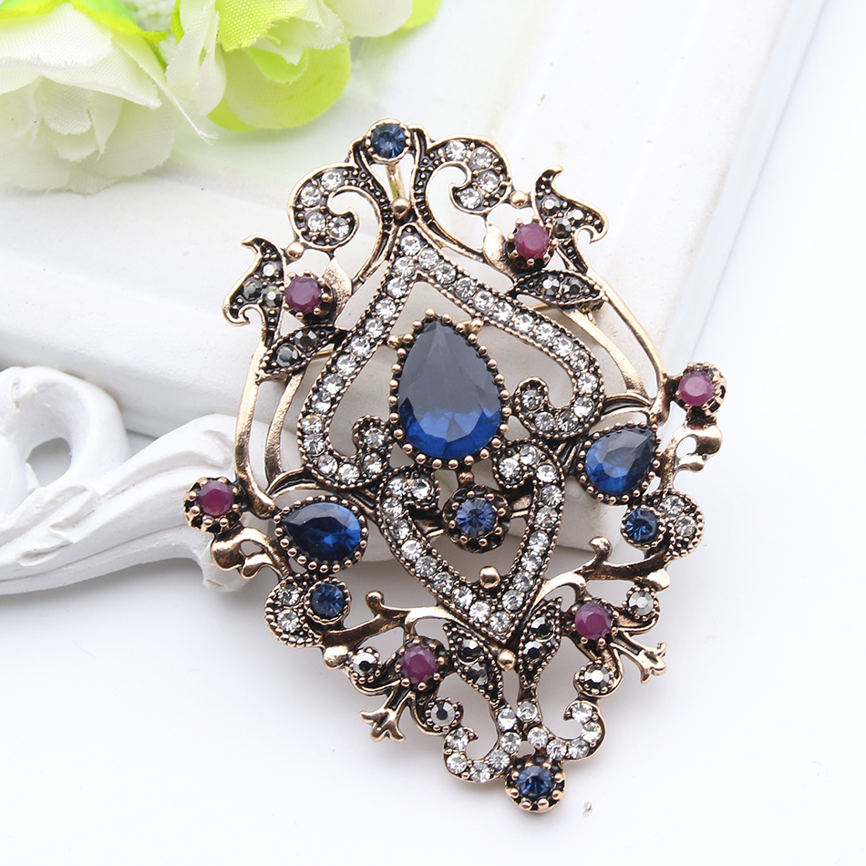 Ethnic Turkish Brooch For Women Antique Gold Color Flower Resin Broches Brooches Pendant Dual-Purpose Arab Ladies Hijab Pins