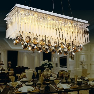 Modern First class K9 Crystal Chandelier Lamp,The Rectangular Crystal Dining Chandelier Light Fixtures-in Chandeliers from Lights & Lighting    2