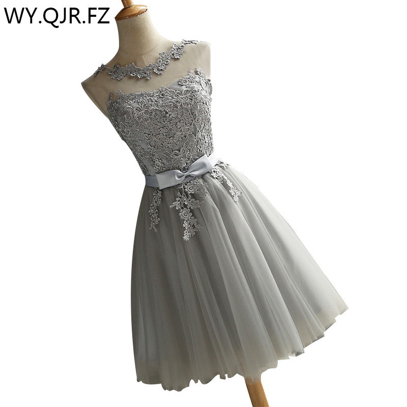 HJZY#Lace up embroidery grey short   bridesmaid     dresses   wholesale cheap wedding party prom   dress   2019 spring new champagne red