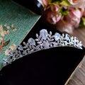 El trébol completo circón accesorios venda de la corona del pelo de la boda tiara novia micro pave cz joyería tiaras diadema coroa wigo0952
