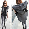Free Shipping Original 2016 winter thick large fur collar down European style new fashion long paragraph vest shawl vest women
