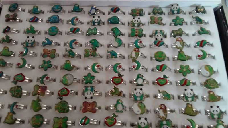 mood temperature sensing mood ring alloy cartoon open mouth mood ring mix style 200pcs lot