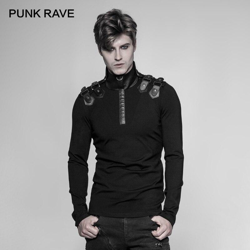 PUNK RAVE Neue Punk Rock Persönlichkeit Uniform Männer Lange Ärmeln T Shirt Gothic Steampunk Motorrad Casual Straße Coole Tops