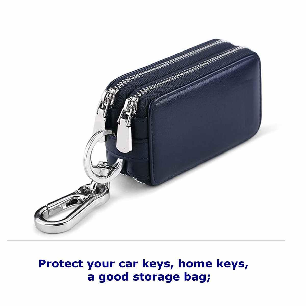 Lapisan ganda Kunci Mobil Tas Home Pemegang Kunci Kulit PU Penyimpanan Casing Dompet Organizer Multifungsi Gantungan Kunci Kasus Pria