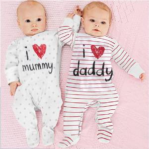 100% Cotton Baby Boys Girls Rompers I Love Daddy Mummy Long Stripe Newborn One-Piece Pajamas Overall Shirts Tights Jumpsuits