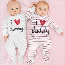 100% Cotton Baby Boys Girls Rompers I Love Daddy Mummy Long
