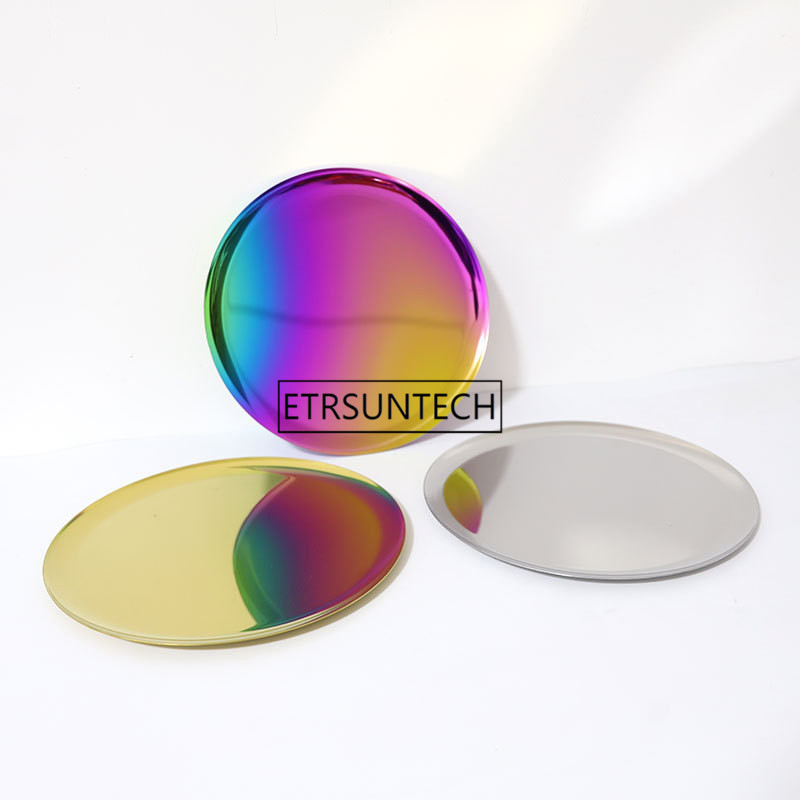 Multifunction Mirror Tray Metal Gold Storage Tray Rainbow Color Round Fruit Plate Tea Trays Jewelry Receive