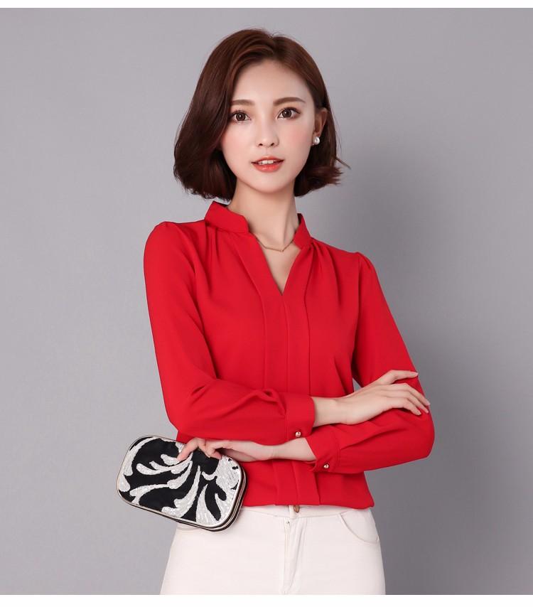 HTB1YTV2LpXXXXXwXVXXq6xXFXXXl - Long Sleeve Elegant Ladies Office Shirts Fashion Casual Slim Women
