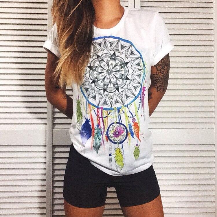 Summer Fashion Dreamcatcher Printing Women   Blouse   O Neck Short Sleeve Tops   Shirt   2019 New White Vintage Casual Women Tops