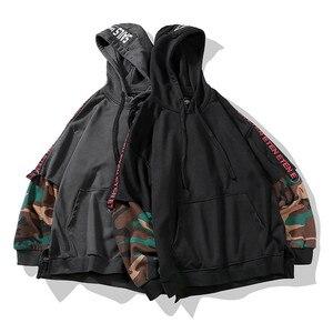 Image 2 - Camouflage Hip Hop Men Hoodie Autumn Cotton Black Male Sweatshirt Tops Soft Grey Hooded Pullovers Harajuku Loose Streetwear Coat