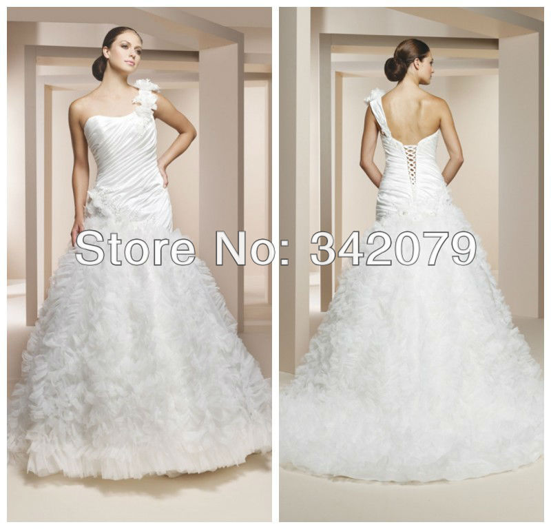 Simple Wedding Dresses In Philippines: Ph10670 One Shoulder Bridal Gown With Floral Strap Pleated
