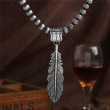 Leaves Maxi Pendant Necklace For Women Men Gray African Beads Antique Silver Plated Holiday Statement Vintage Choker Accessories