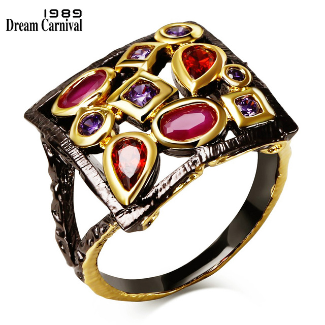 DreamCarnival 1989 Square Vintage Ring for Women Fuchsia and Purple CZ Engagemen