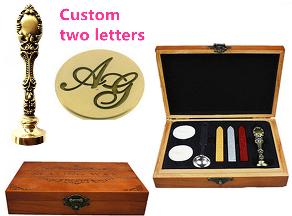 Vintage Custom Made Your Design Personalized Letter Picture Retro Invitation Wax Seal Stamp Handle Set Kit Peacock Metal box set new design your own custom picture logo letter personalized embosser stamp