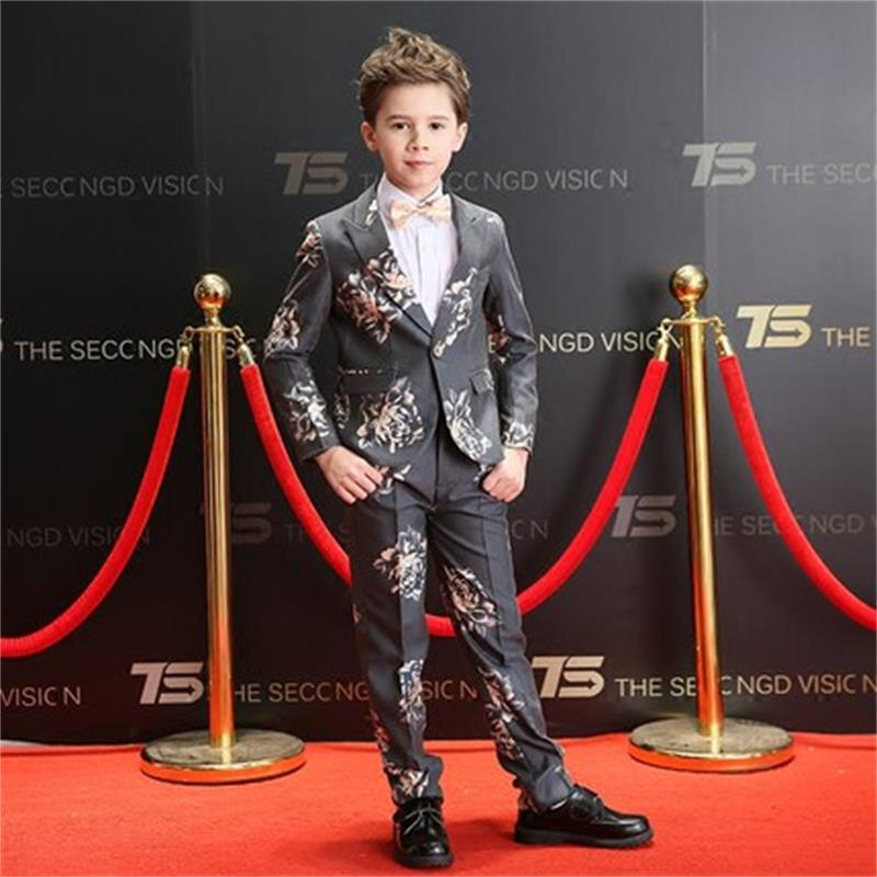 High quality children's suit male five-piece spring and autumn piano costumes catwalk show flower girl dress boy suit suit kimocat boy and girl high quality spring autumn children s cowboy suit version of the big boy cherry embroidery jeans two suits
