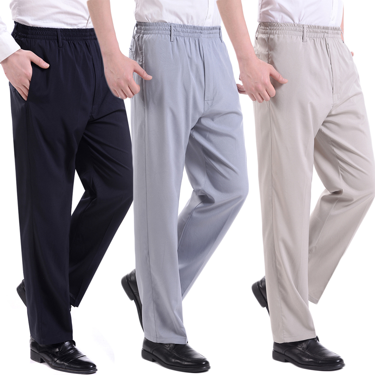 Fashion 2019 Summer Emulation Silk Pants Elastic Waist Thin Elderly People Dad Loose Slacks Fat Old Men Loose Plus Size 10XL