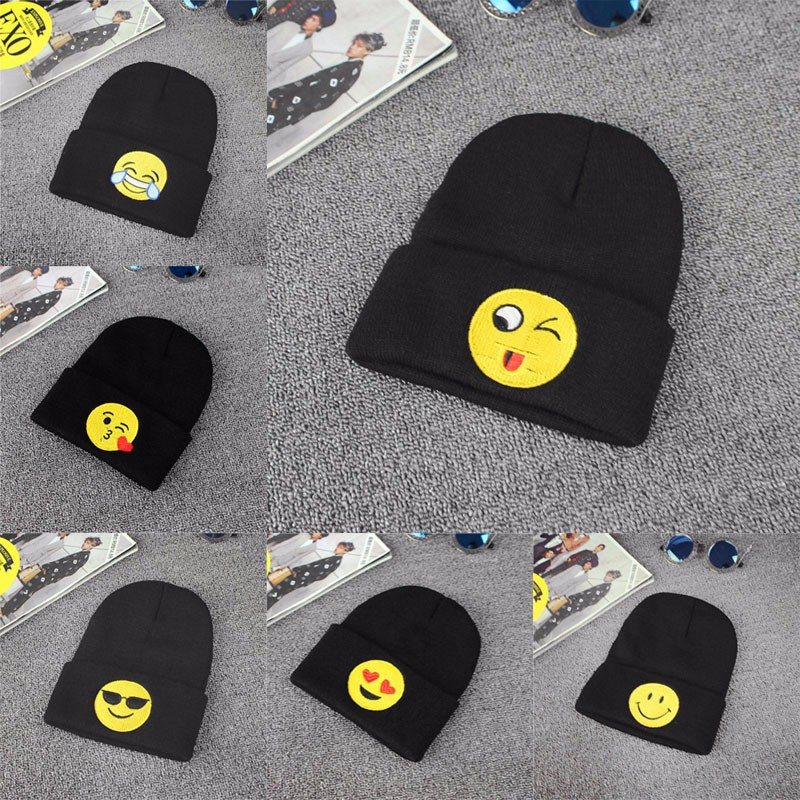 Hot! Emoji Knit Beanie Cap Adult Child Mens Winter Warm Hat Unisex Hip Hop Adjustable mens summer cap thin beanie cool skullcap hip hop casual hat forbusite