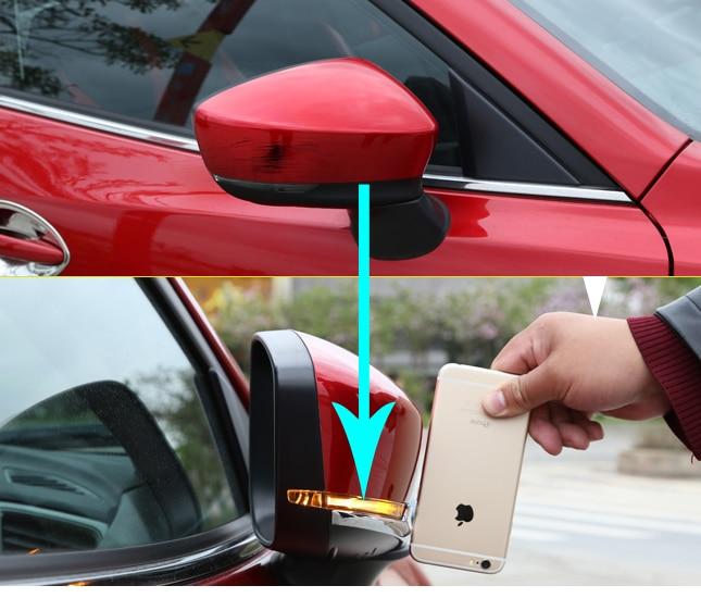 2PCS For Mazda 3 Axela 2017 Rearview Mirror Anticollision Strip Sticker Rearview Mirror Decorate Bright Sticker